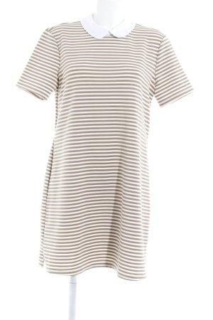 Vero Moda Kurzarmkleid wollweiß-beige Streifenmuster Elegant
