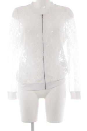 Vero Moda Kurzjacke wollweiß-weiß Blumenmuster Spitzen-Optik