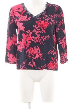 Vero Moda Langarm-Bluse blau-rot Blumenmuster Casual-Look