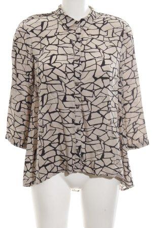 Vero Moda Langarm-Bluse wollweiß-schwarz abstraktes Muster Casual-Look
