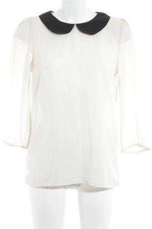 Vero Moda Langarm-Bluse creme-schwarz 20ies-Stil