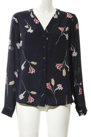 Vero Moda Langarm-Bluse dunkelblau Blumenmuster Casual-Look