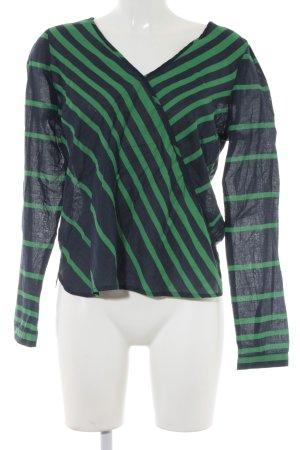 Vero Moda Langarm-Bluse dunkelblau-grün Streifenmuster Casual-Look