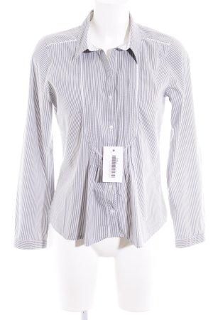 Vero Moda Langarm-Bluse grau-weiß Streifenmuster Romantik-Look