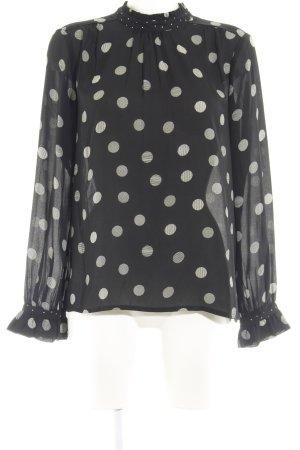 Vero Moda Langarm-Bluse schwarz-hellgrau Punktemuster Casual-Look