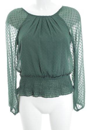 Vero Moda Langarm-Bluse waldgrün Punktemuster Elegant