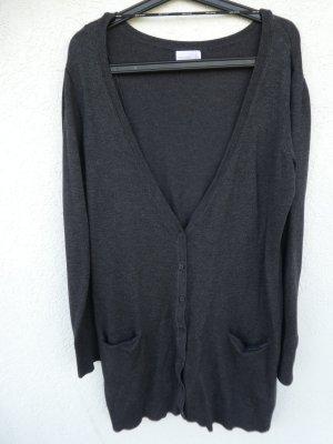 Vero Moda – Langer Strick-Cardigan, dunkelgrau – Gebraucht, fast wie neu