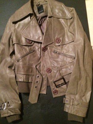 Vero Moda Lederblazer Jacke Hellbraun Trenchcoat Look