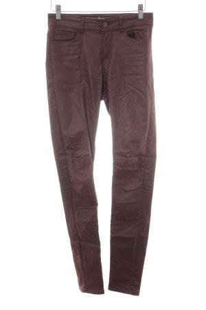 Vero Moda Pantalone in pelle marrone-rosso stile casual
