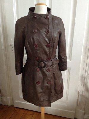 Vero Moda Ledermantel 70er Chic Vintage Look Echtes Leder Größe M