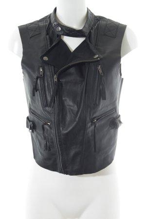 Vero Moda Leren vest zwart Biker-look