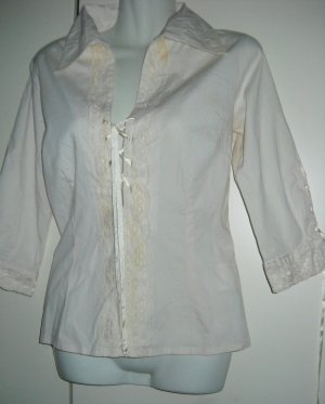 Vero Moda Long Bluse 3/4 Arm Shirt SCHNÜRUNG puder creme Spitze S M 36 38 40