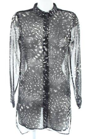 Vero Moda Long-Bluse schwarz-hellgrau Farbtupfermuster Casual-Look