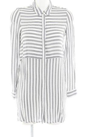 Vero Moda Long-Bluse weiß-grau Streifenmuster Casual-Look