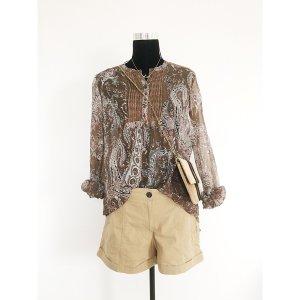 Vero Moda luftige Long Tunika Ethno Hippie Style Muster Kleid Braun M 38 40