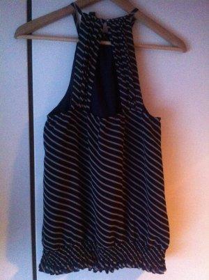 Vero Moda ❤️ marine Top / Bluse ❤️ Blau weiss Sexy Rücken ❤️ M