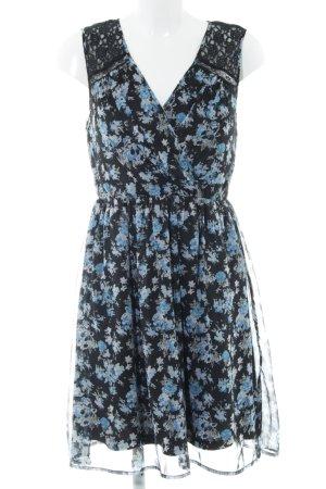 Vero Moda Minikleid schwarz-blau Blumenmuster klassischer Stil