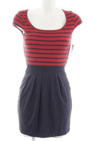 Vero Moda Minikleid dunkelrot-dunkelblau Streifenmuster schlichter Stil