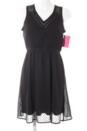 Vero Moda Minikleid schwarz Punktemuster Spitzenbesatz