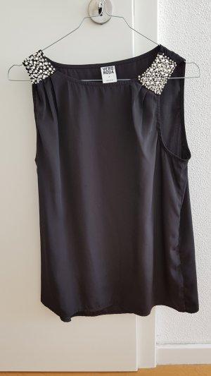 Vero Moda Oberteil schwarz mit Perlen Top M wie NEU!