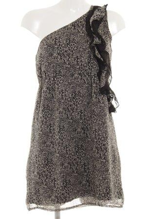 Vero Moda One-Shoulder-Kleid schwarz-beige Leomuster Animal-Look