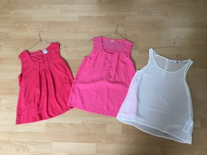 Vero Moda Only Rot Rosa Pink Weiß Bluse S 36 38 3 Stück Set Spitze