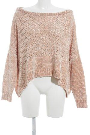 Vero Moda Oversized Pullover apricot Lochstrickmuster Casual-Look