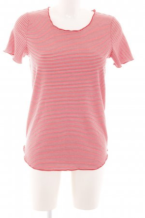 Vero Moda Chemise côtelée rouge-blanc motif rayé style décontracté