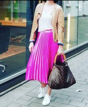 Vero Moda Rock Pleated Skirt Highwaist Midi Midirock Satin Pink Plissee