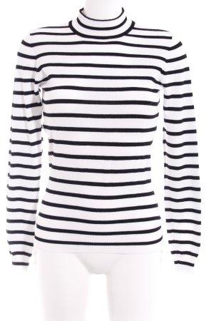 Vero Moda Rollkragenpullover schwarz-weiß Streifenmuster