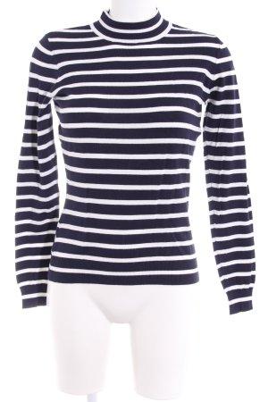 Vero Moda Rollkragenpullover weiß-dunkelblau Streifenmuster