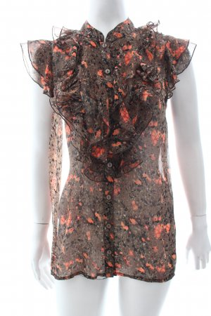 Vero Moda Rüschen-Bluse hellbraun-orange Blumenmuster Transparenz-Optik