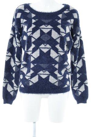 Vero Moda Rundhalspullover dunkelblau-wollweiß Aztekenmuster Casual-Look