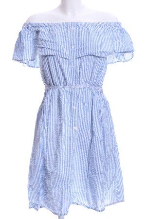 Vero Moda Vestido strapless azul celeste-blanco estampado a rayas look retro