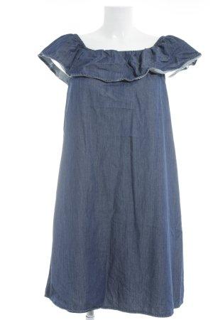 Vero Moda schulterfreies Kleid stahlblau-wollweiß meliert Casual-Look
