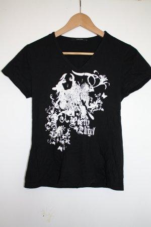 Vero Moda Schwarzes T-Shirt mit weißen Druck V-Auschnutt Gr. M