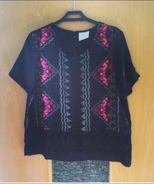 Vero Moda Shirt gr. L schwarz Azteken Muster pink Fransen Blogger