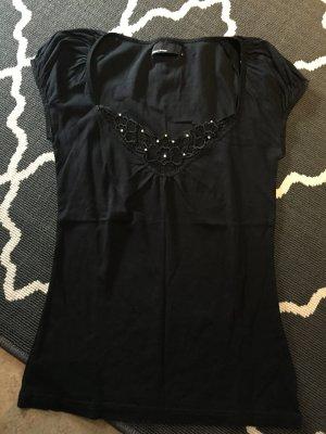 Vero Moda Shirt schwarz mit Blumenstickerei