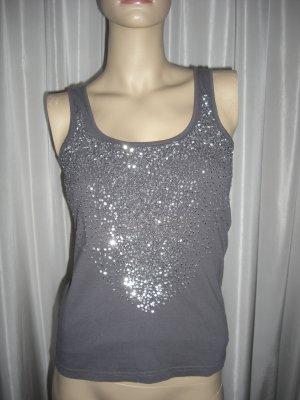 Vero Moda Shirt  Top grau mit endlos Pailletten   Gr 38  neuwertig