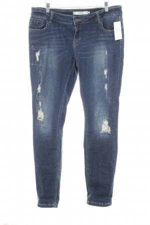 Vero Moda Slim Jeans dunkelblau Used-Optik
