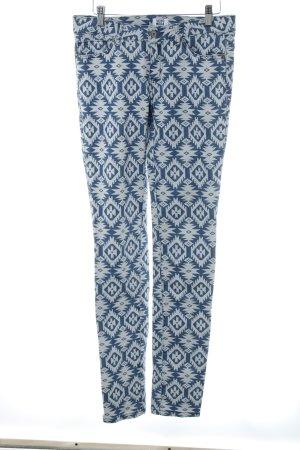 Vero Moda Slim Jeans weiß-kornblumenblau Aztekenmuster Casual-Look
