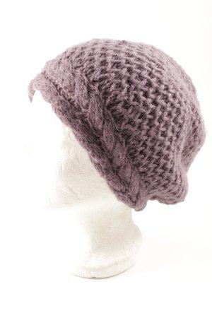 Vero Moda Strickmütze grauviolett Zopfmuster Casual-Look