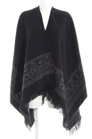 Vero Moda Strickponcho schwarz-grau abstraktes Muster Casual-Look
