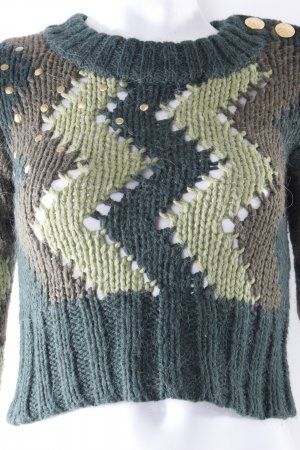 Vero Moda Strickpullover grünes Zickzack-Muster