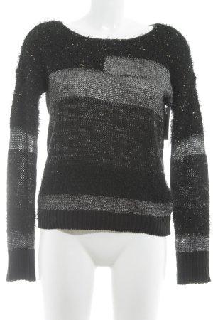 Vero Moda Strickpullover schwarz-silberfarben Streifenmuster Casual-Look