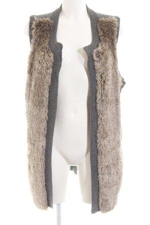 Vero Moda Gilet tricoté gris clair-bronze torsades style d'affaires