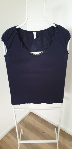 Vero Moda T-shirt col en V bleu foncé