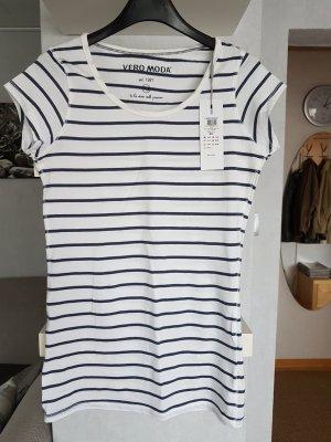 Vero Moda T-Shirt gestreift weiß-blau Marinelook XS Longtop