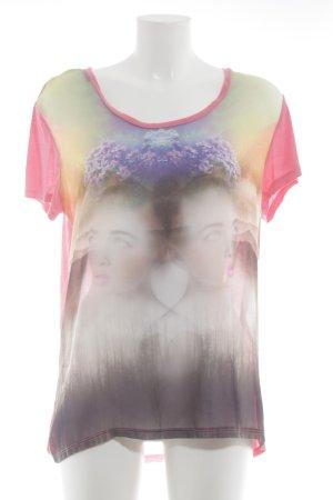 Vero Moda T-Shirt neonpink-lila Motivdruck Casual-Look