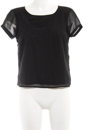 Vero Moda T-Shirt schwarz Blumenmuster Casual-Look